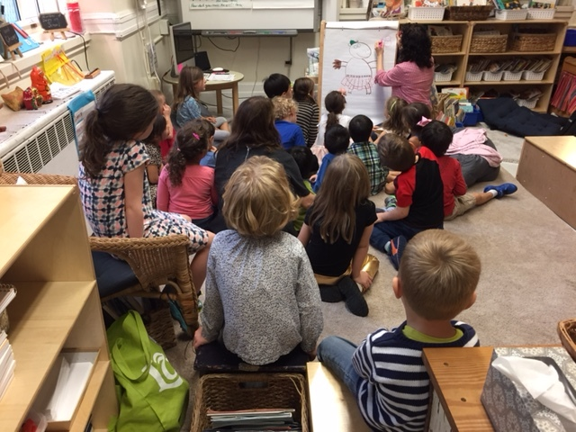 Reading and drawing with the first graders of P.S. 290, New York, NY