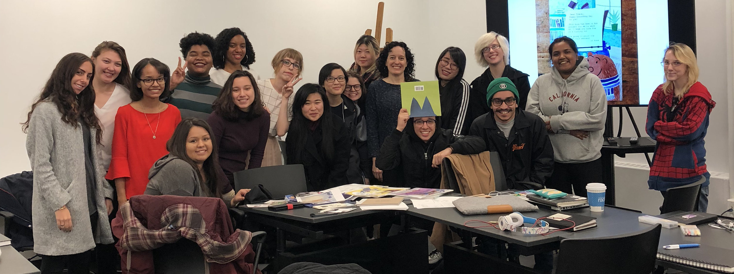 Presentation to illustration students at FiT.  (Photo courtesy of Hyesu Lee)