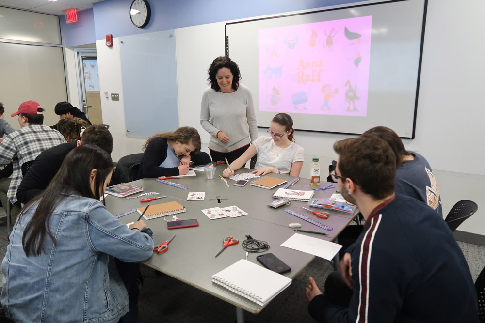 A talk and pattern-making workshop with the English and Cultural Studies students at Bryant University, Smithfield, RI.