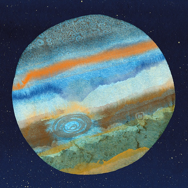 Once collaged and colored in the computer,  Jupiter's body began to take shape.