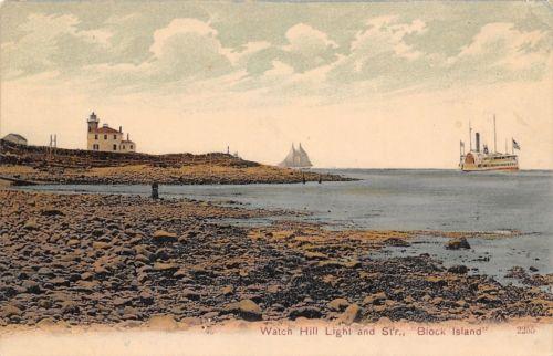 BLOCK ISLAND WATCH HILL LIGHTHOUSE - 1905