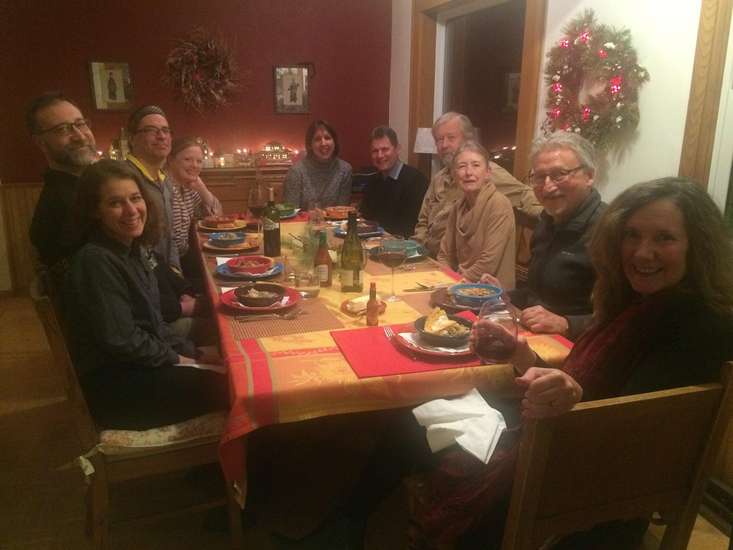 Celebratory dinner at the Davises' home