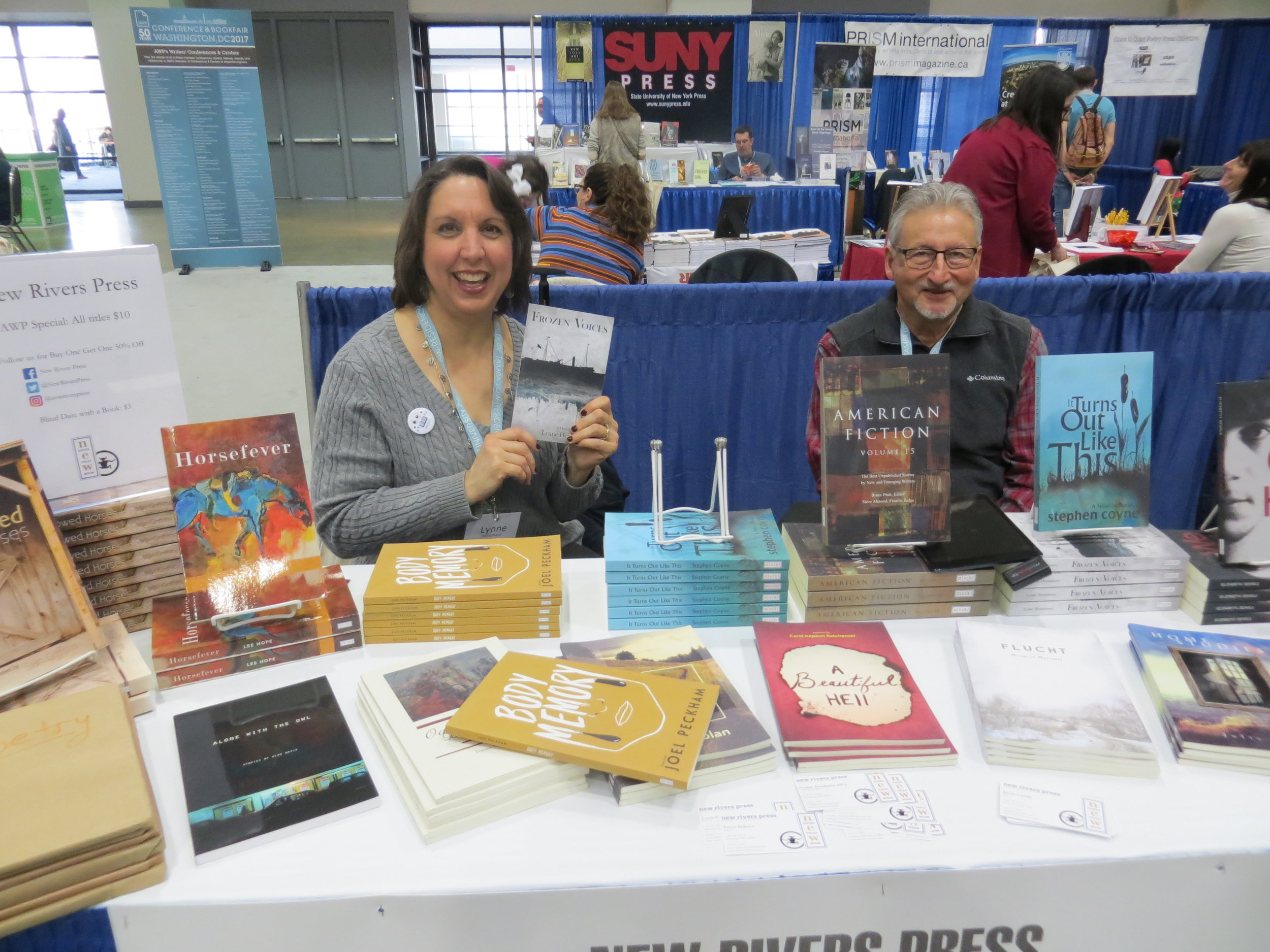 Al Davis and me at the New Rivers Press Booth, AWP Conference, Washington DC, 2017