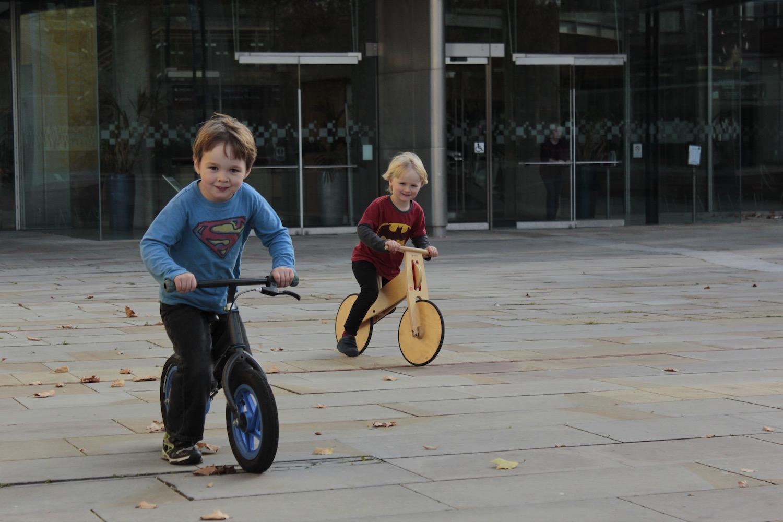 Post exhibition bike ride outside Milton Keynes Gallery, Autumn 2011