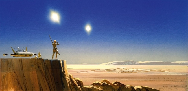 Looking over Mos Eisley Spaceport... again, a sense of space is key, the McQuarrie juxtaposes the size of the figure against a vast landscape and adds two suns, to keep the viewer off balance.