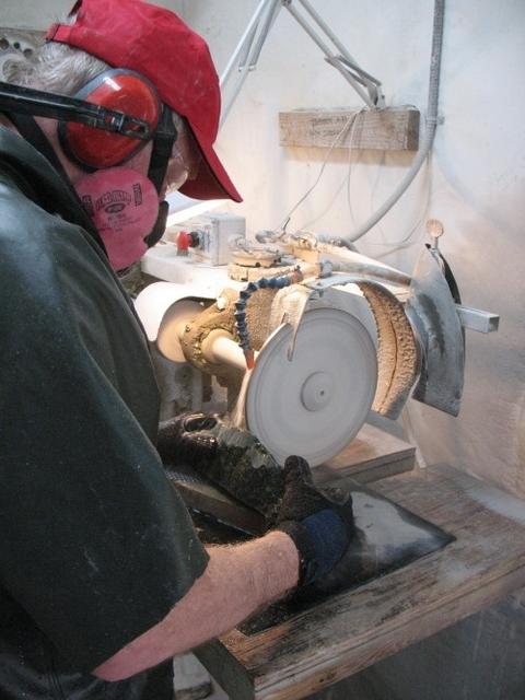 Gordon grinding jade in his studio