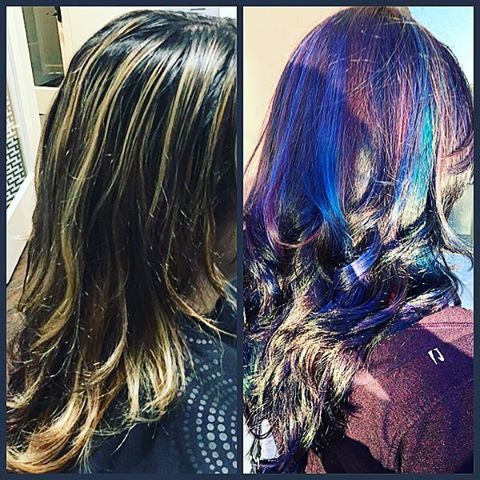 Oil slicking.so fun to do and looked so pretty . Wish I had a better picture of the end result. #latepost #glamondemand  #oilslicking #mermaidhair #newlooks #manhattanbeach  #redondobeach  #hairbymonika #hairoftheday #losangeles #hairlife #happyclient #hair #transformation #CAHairstylist