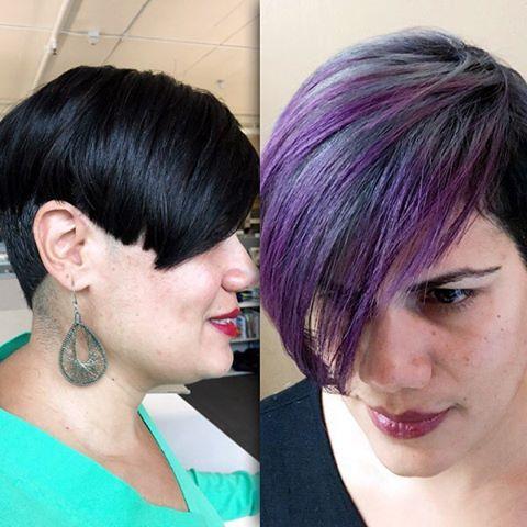 Total transformation . Love doing funky colors like this . #glamondemand #funkycolors #purplehair #purpletips #silverhair #transformation #pravana #southbayhair #manhattanbeach #hermosabeach #redondobeach #hairlife #424beauty #instahair #instastyle #hair #hairstylist #shorthair