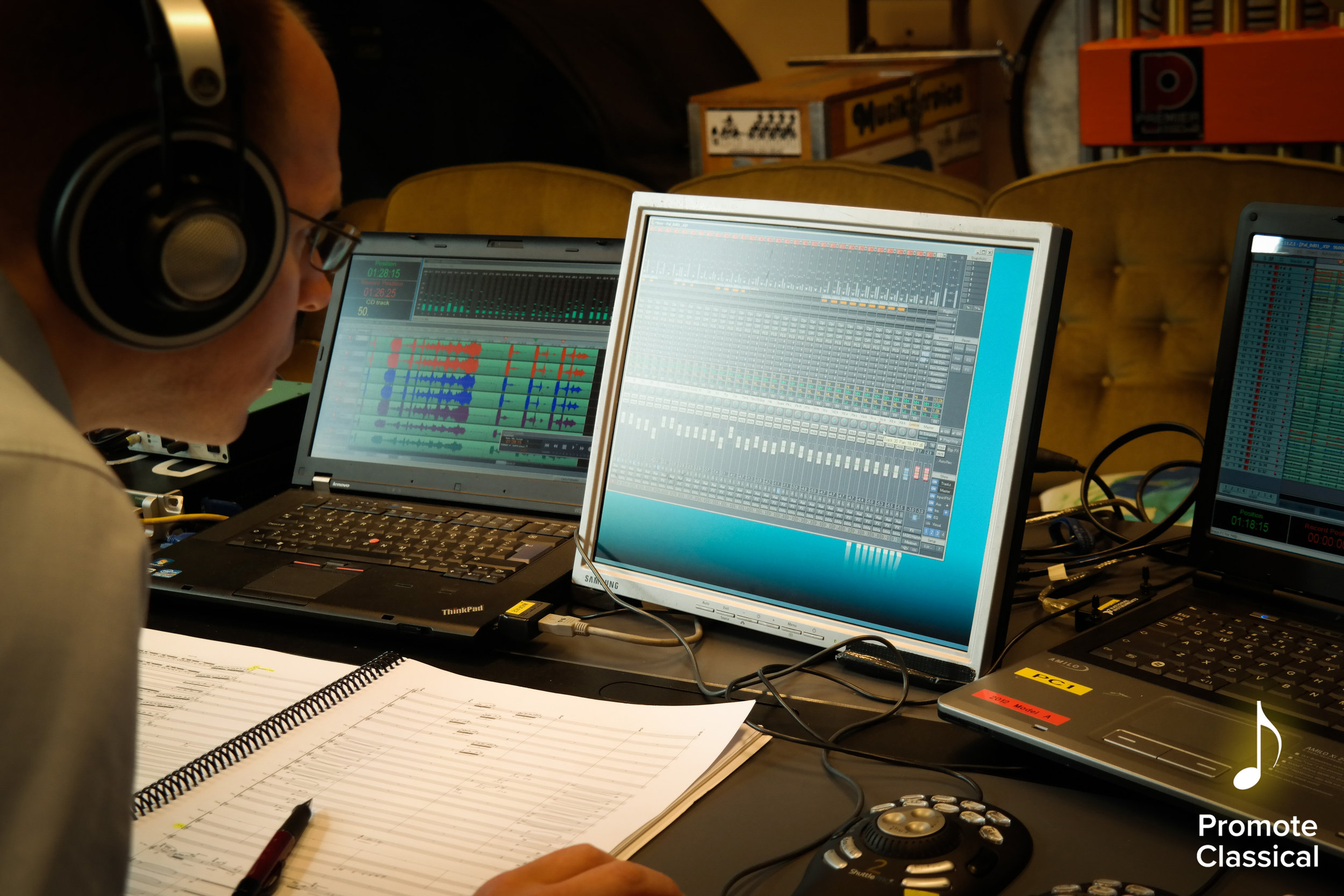 BIS Records Engineer Andreas editing the recording of one of Vito's compositions during a recording session in Gävle, Sweden.