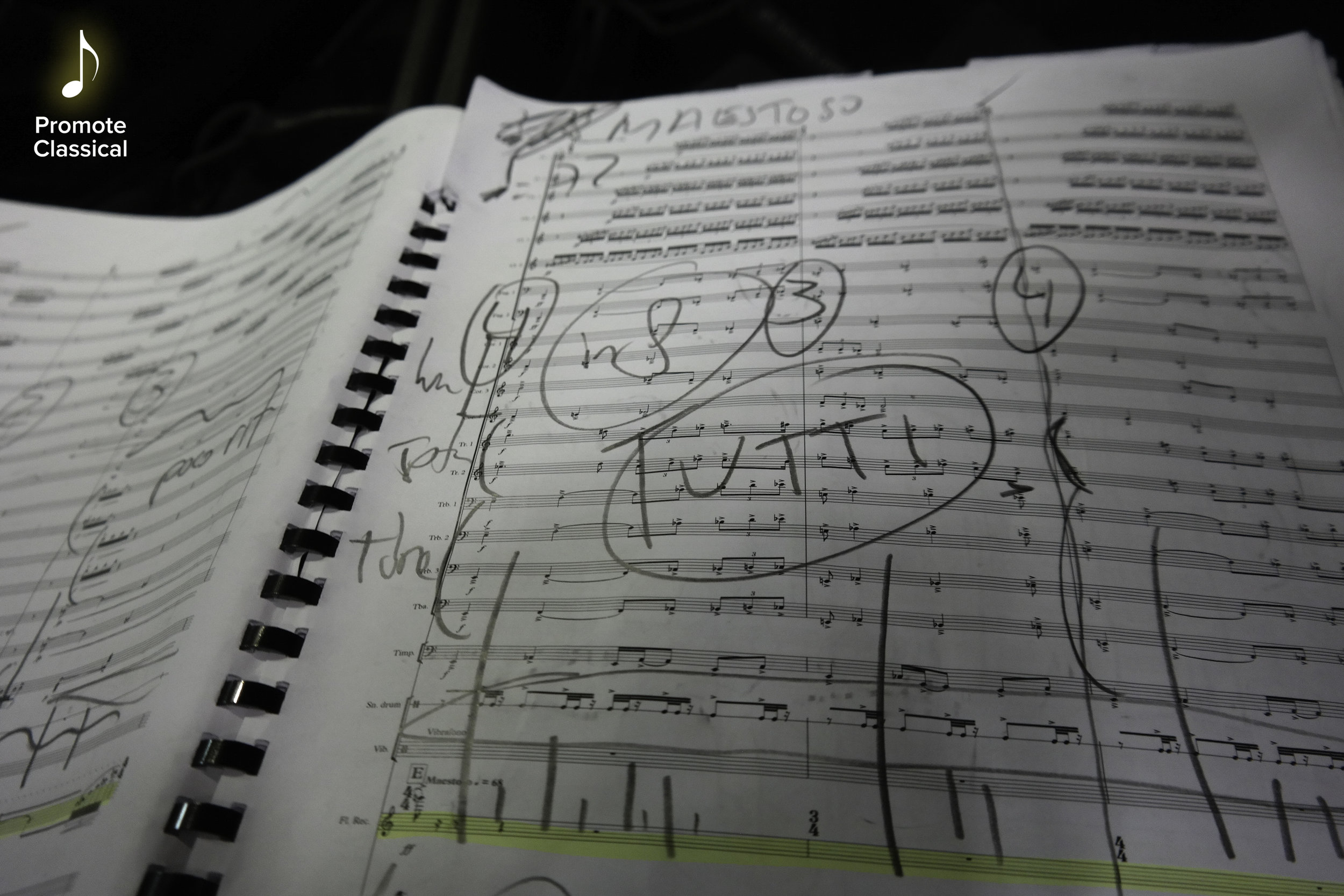A page from the conductor's score of Vito's Recorder Concerto, annotated by Gävle Symfoniorkester's artistic director and conductor Jaime Martin.