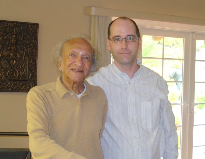 With Ravi Shankar in his home in 2010 before producing his 90th Birthday Tribute Concert. RIP.