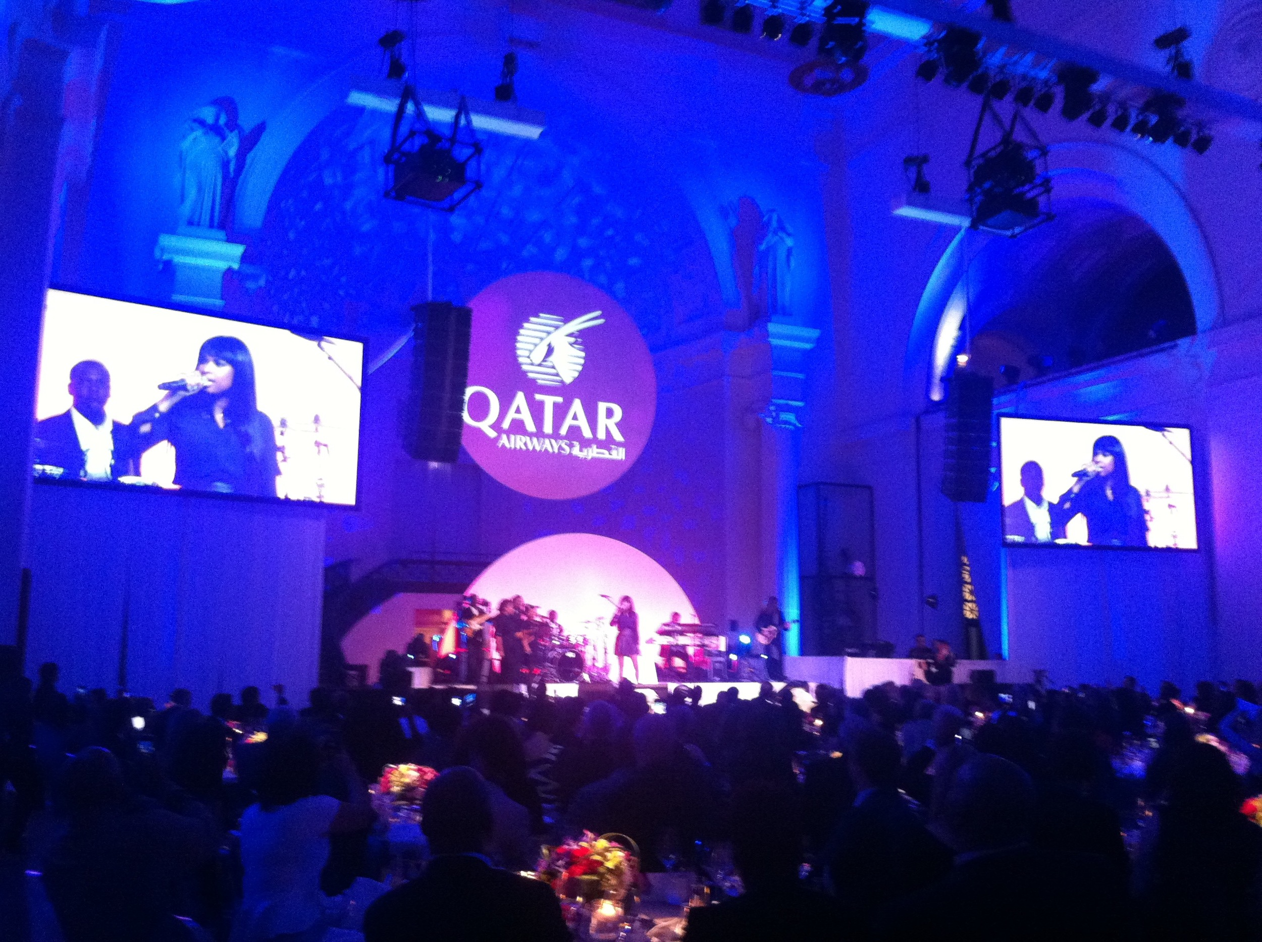 Event Producer and guest DJ for Qatar Airlines launch event at Field Museum Chicago. Jennifer Hudson performs in photo.