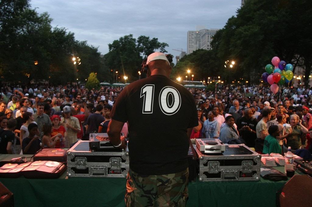 DJ Frankie Knuckles performs at Chicago SummerDance DJ Series.