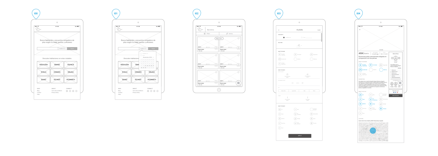 Wireframes of the iPad version of the website