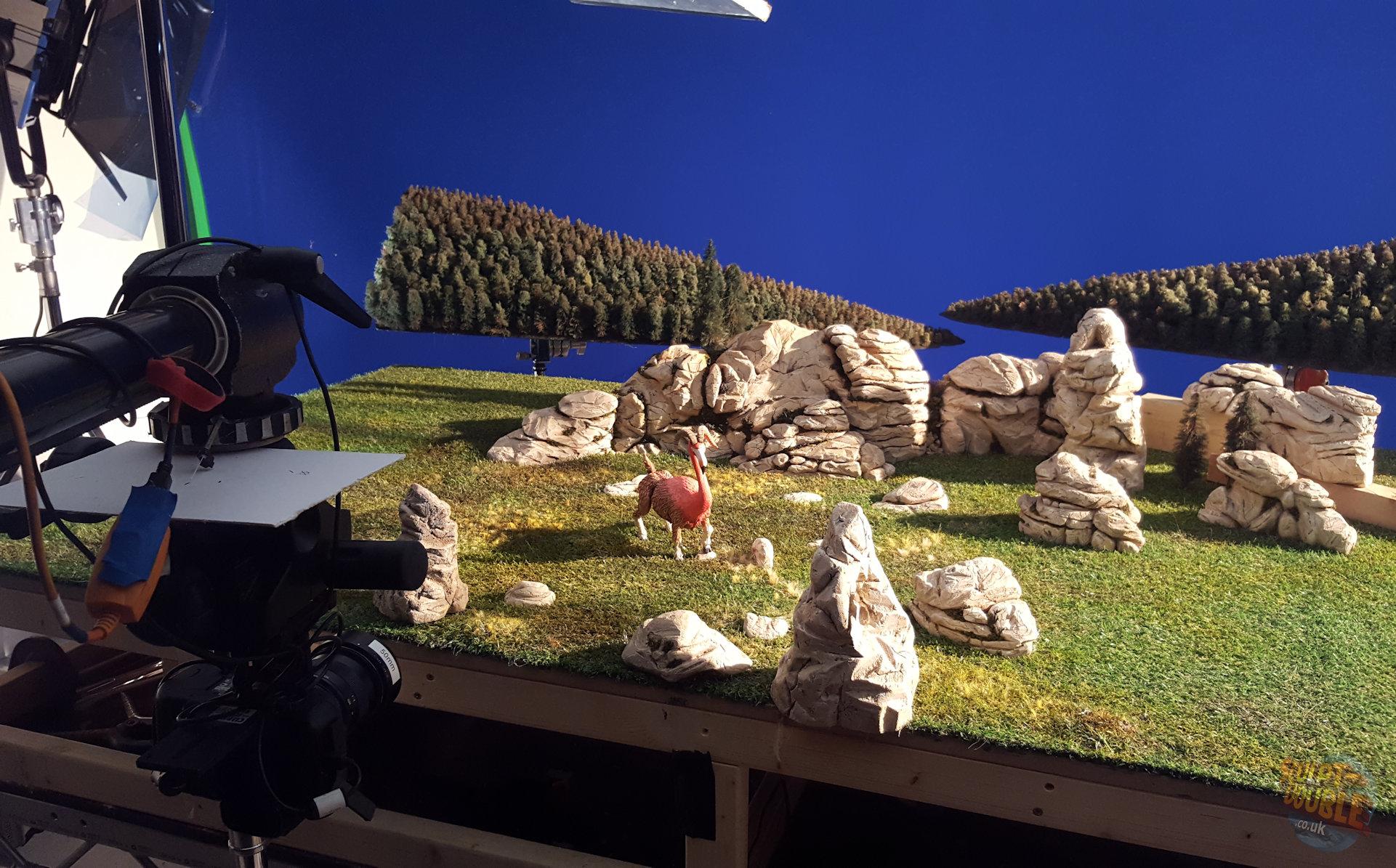 Flamingoat puppet on set at Clapham Road Studios.