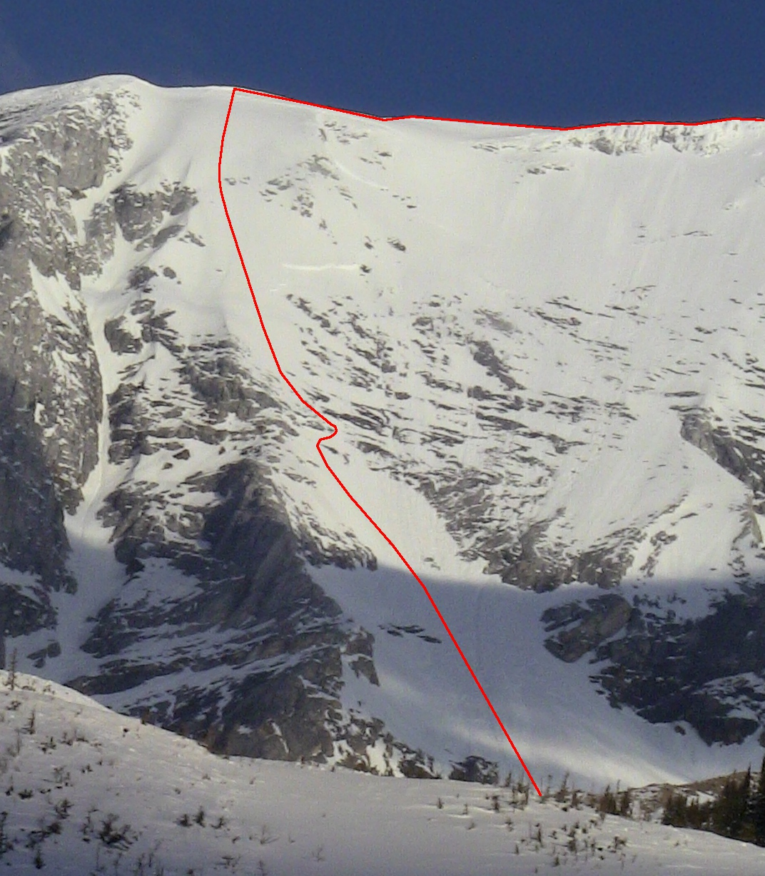 Upper South Face the day we skied it. Note the 2 metre avy crown