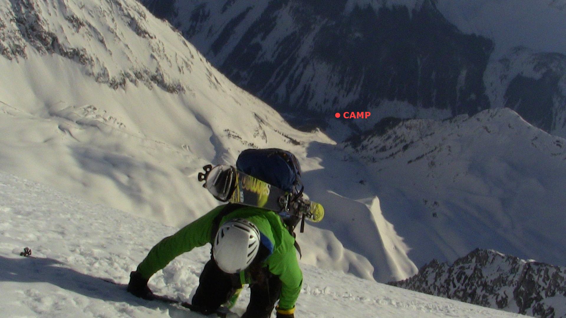 Camp, 7000 feet below