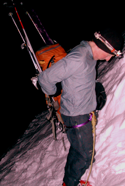 Jon starting up the Deville Chimney. Check the harness & rope