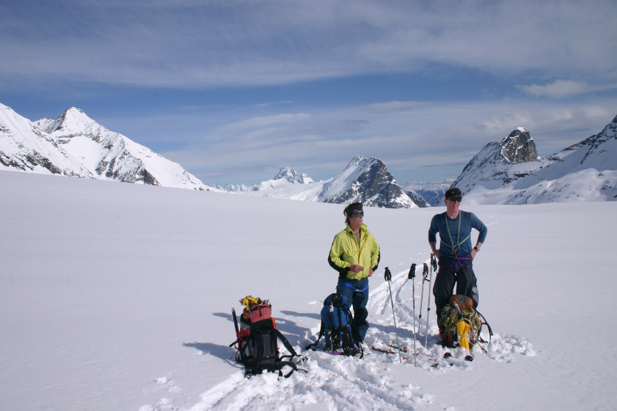 On Deville Icefield. Mt Topham in background on right | IMAGE ©Troy Jungen