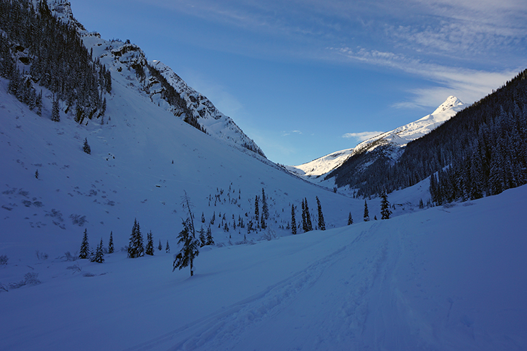 Looking up Connaught Creek with Balu Pass at the head of the valley from Grizzly Bowl Slidepath