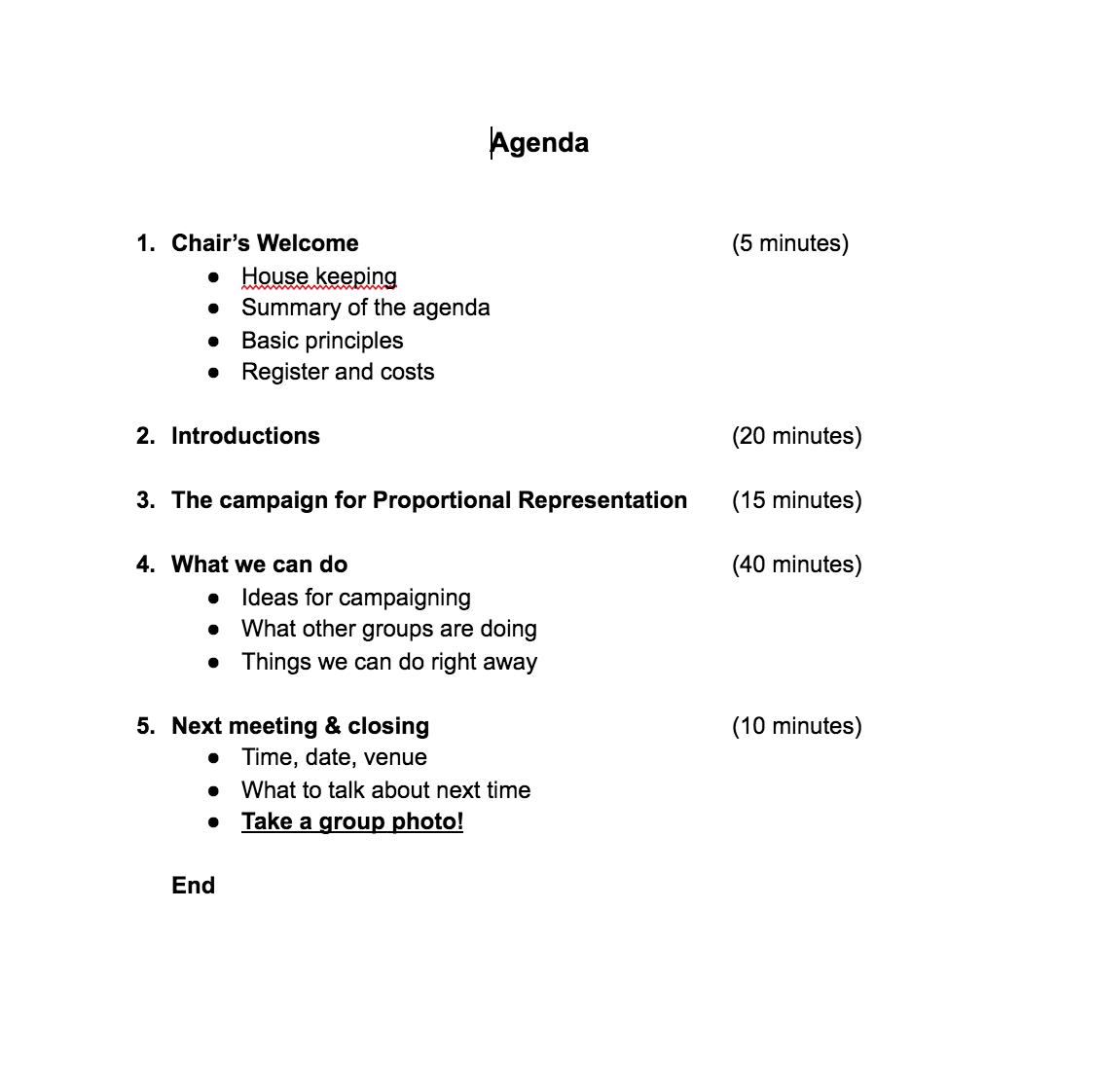 First Meeting Draft Agenda
