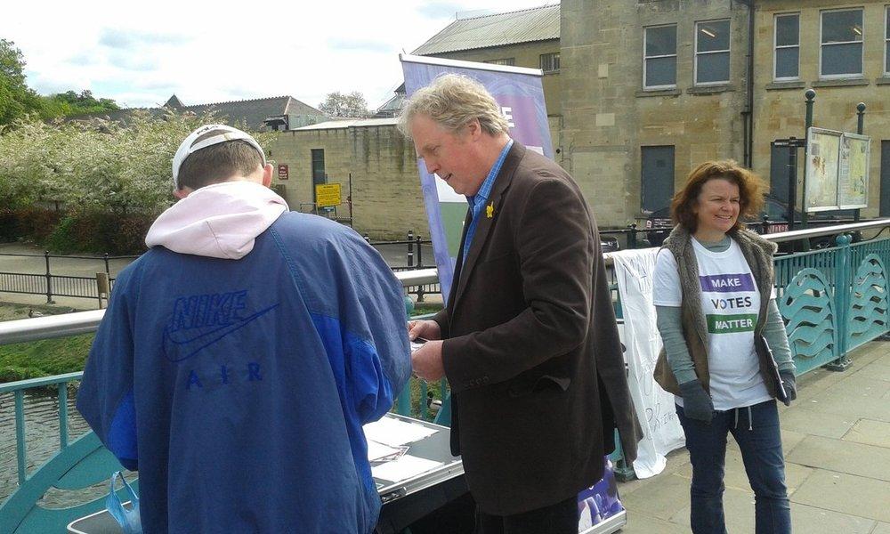 A Make Votes Matter Chippenham street stall.