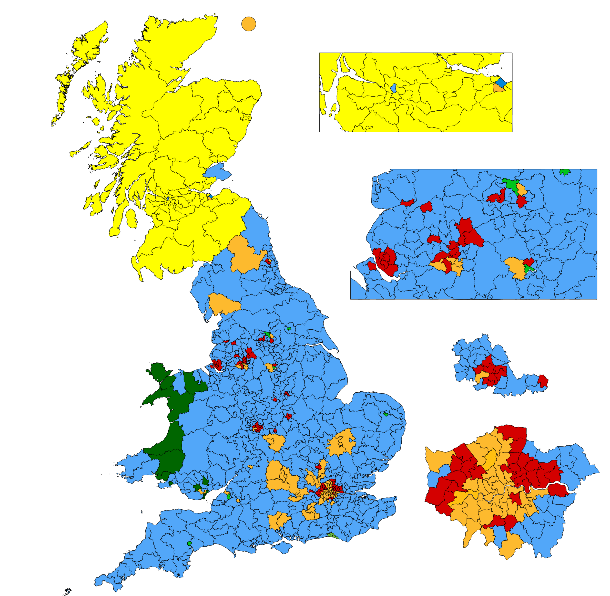 Westminster constituencies if the european elections had been a general election. Source:  Chris Hanretty
