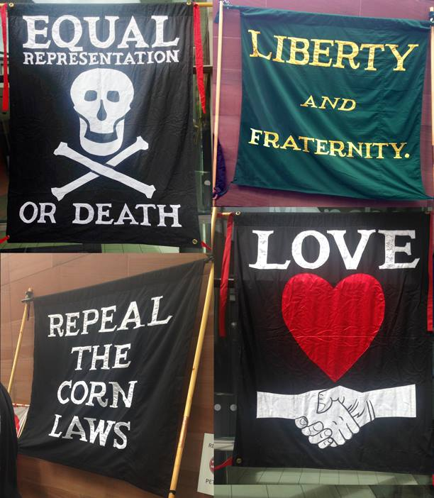 Flags from Peterloo memorial 2014, photo by Catherine Booth