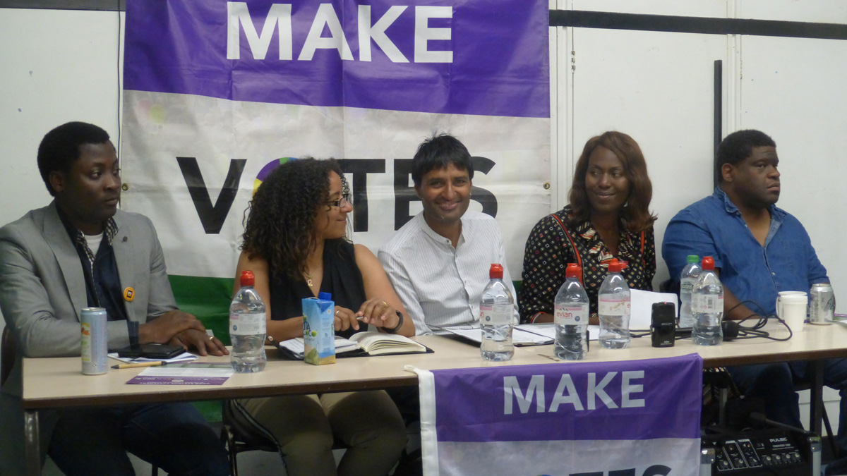 Surrinder Chera, centre, with panelists at the Black Votes Matter event in London
