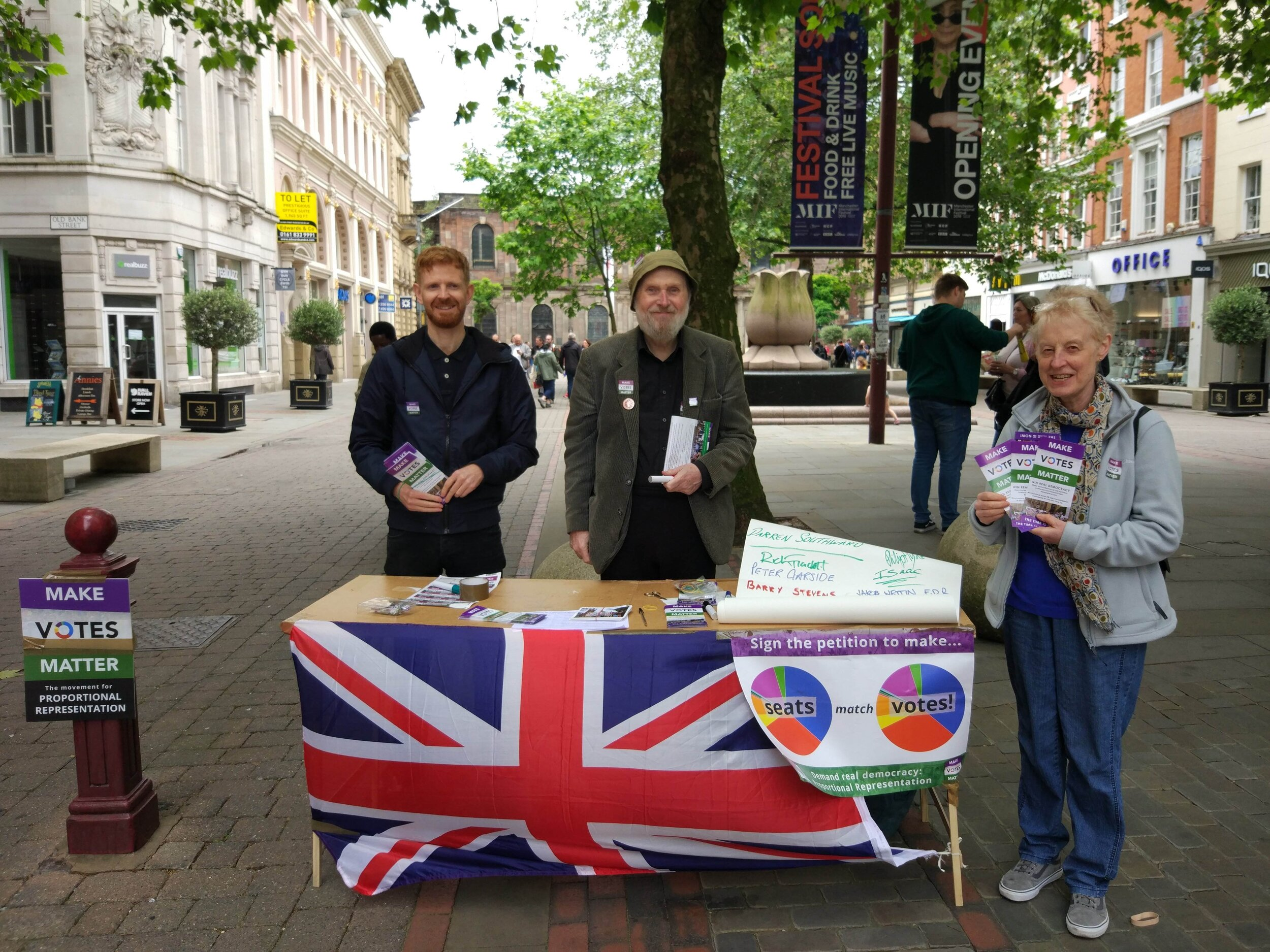 MVM campaigners in central Manchester for Demand Democracy Day, 2019