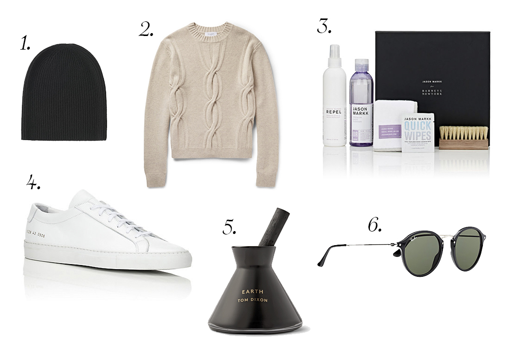 Pictured Above:   1.  Uniqlo   cashmere beanie . 2.  Enlist   Cable-Knit Merino Wool Sweater   . 3.  Jason Markk   Shoe Cleaning Kit . 4.  Common Projects   Achilles Low-Top Sneakers . 5.  Tom dixon   earth charcoal scent diffuser . 6.  Ray-ban   icons sunglasses.