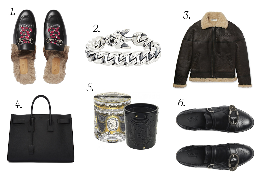 PICTURED ABOVE:   1. GUCCI   PRINCETOWN LEATHER SLIPPERS WITH SNAKE . 2.  GOOD ART HLYWD   HEAVY CURB CHAIN BRACELET . 3.  BALENCIAGA   OVERSIZED SHEARLING AVIATOR JACKET . 4.  SAINT LAURENT   BLACK LARGE SAC DE JOUR TOTE . 5.  DIPTYQUE   BAIES HOLIDAY CANDLE . 6.  GUCCI   MONK STRAP SHOES WITH BROGUEING.