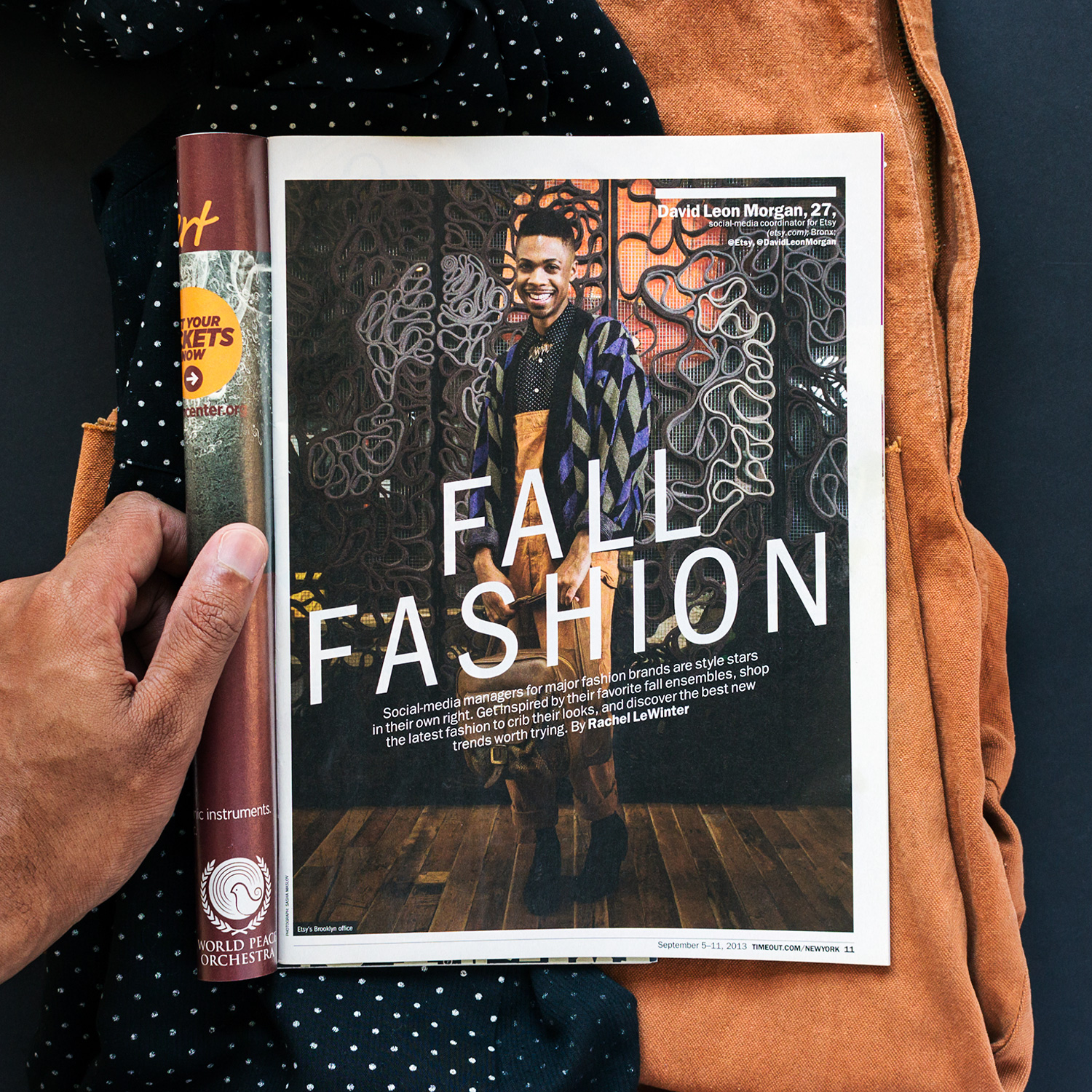 During my time as Etsy's Lead Social Media Specialist, I was featured in Time Out New York's 2013 Fall Fashion issue, which highlighted the style of social media managers for major brands.