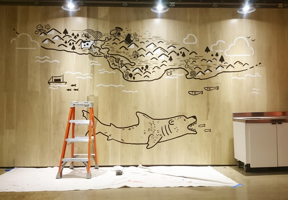 A mural map of food in the Bay Area, designed and painted for the Food team in the office's main dining hall. (With a mysterious bear shark swimming below...)