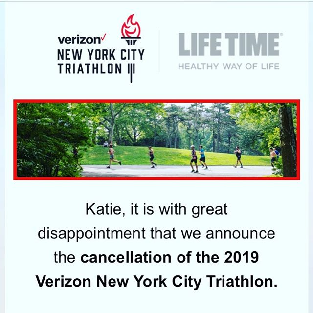 While this works out well for me (I was not properly trained & planned to defer), I'm quite sad to hear. Sorry for all those who have trained & were ready to kick ass at the #nyctri this year. #staycool