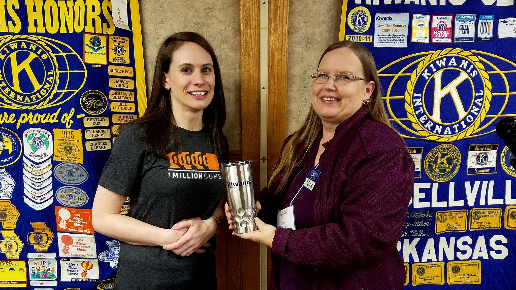 Tiffany Henry (left) after giving a presentation to the local Kiwanis chapter about 1 Million Cups.