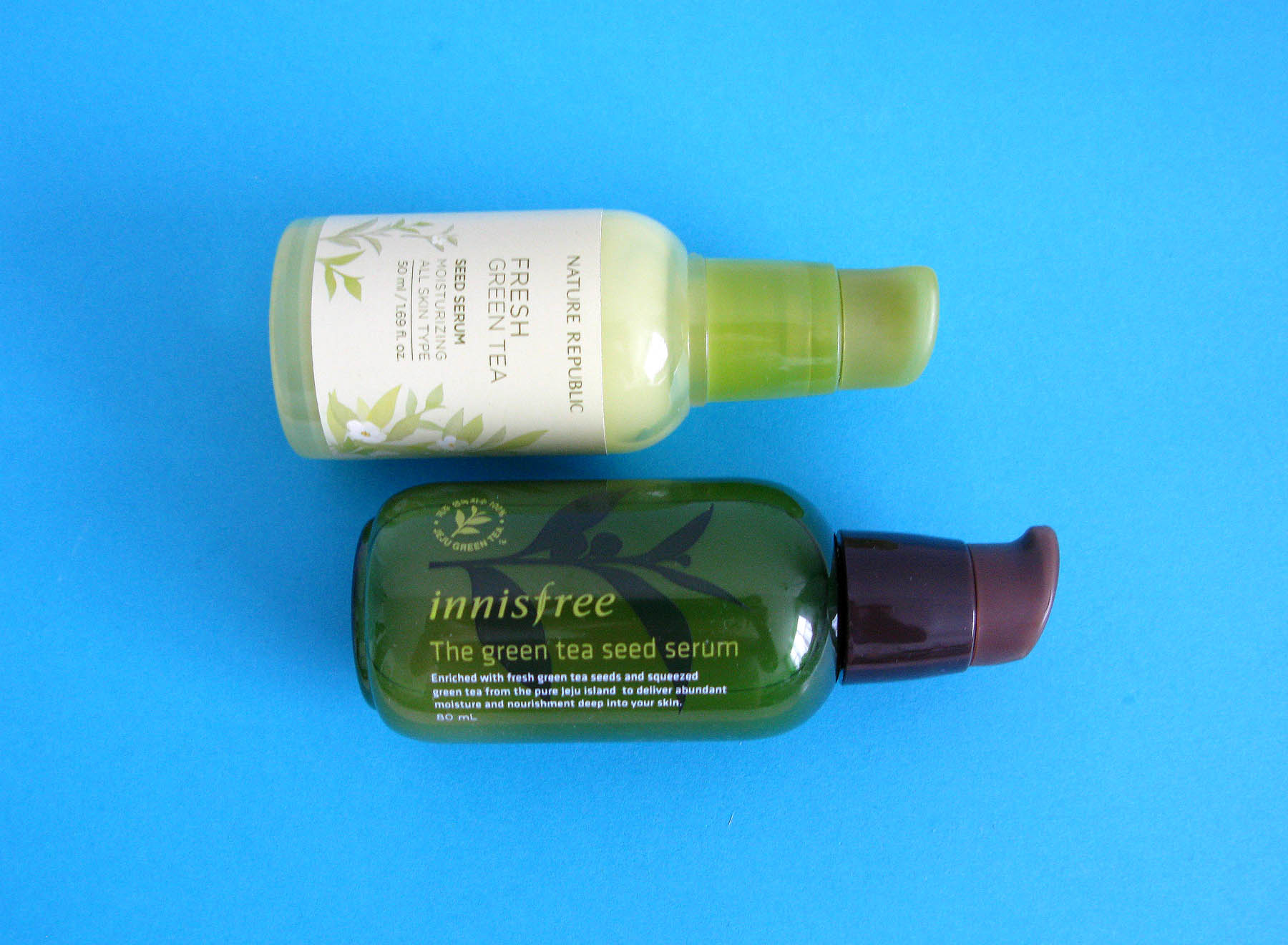 Nature Republic Fresh Green Tea Seed Serum and Innisfree The Green Tea Seed Serum