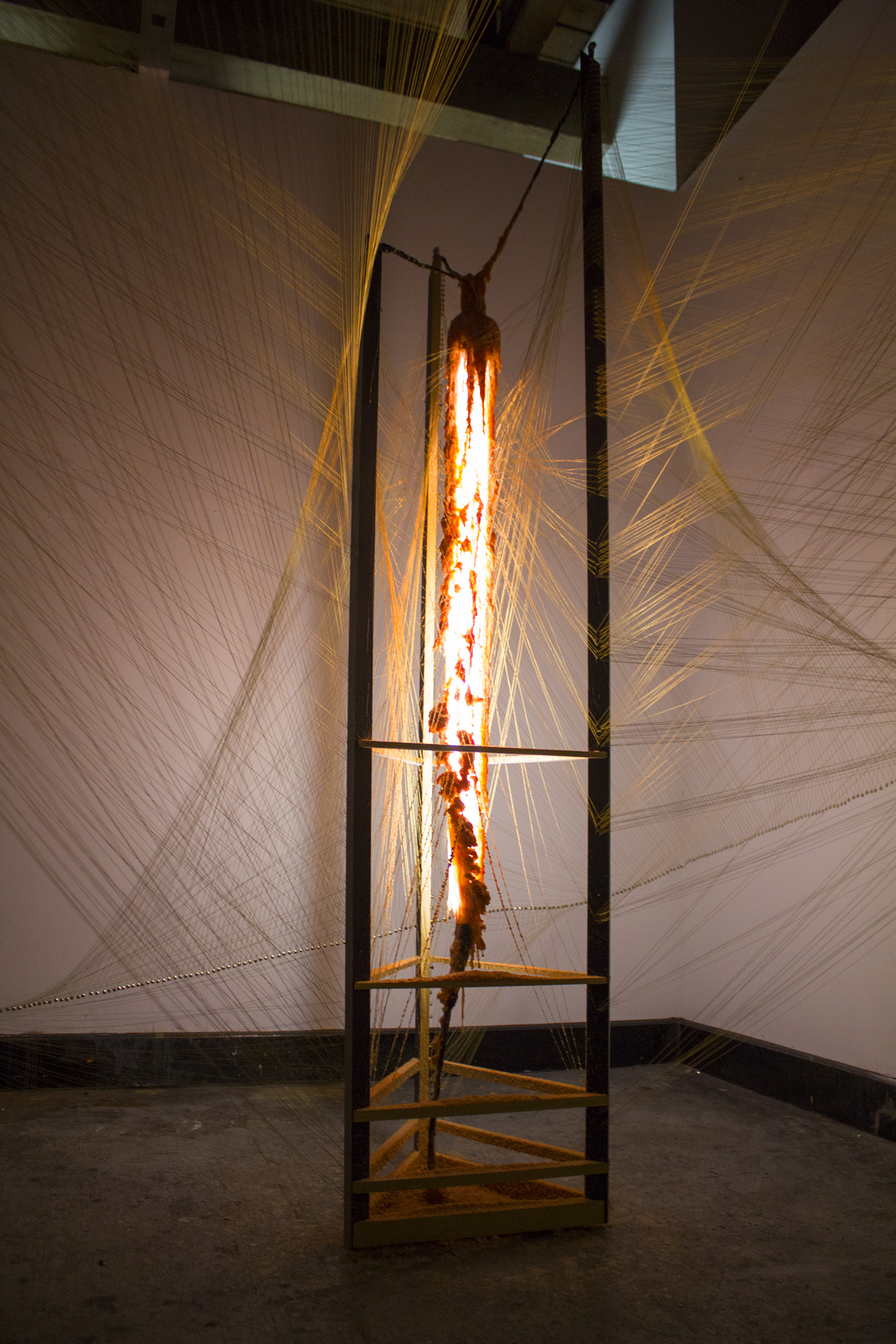 Thought Conduit , 2015, installation size variable, wood, gilding wax, florescent light, wax, wax paper, golden gimp yarn, duct tape, metal wires