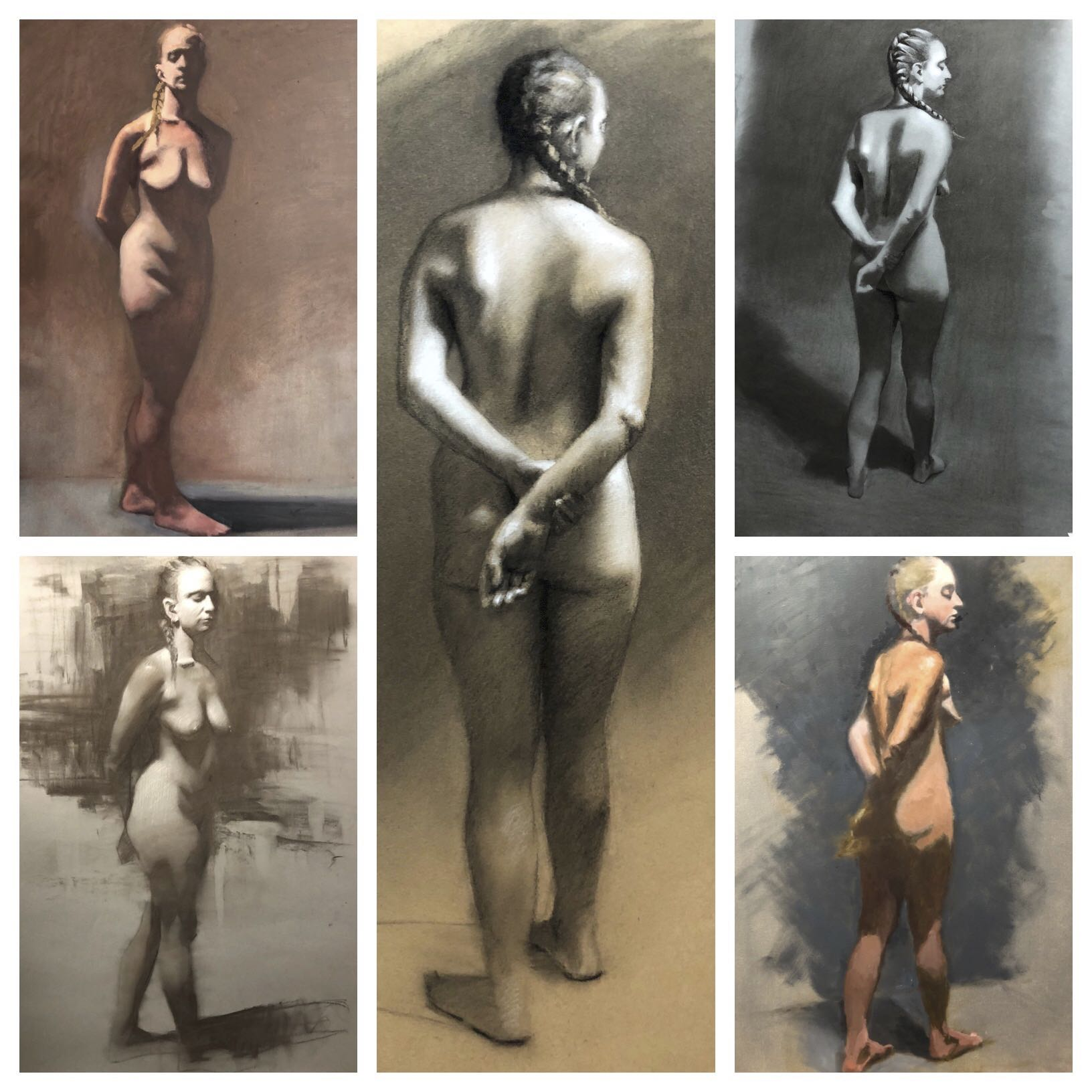 Students figure drawing and paintings