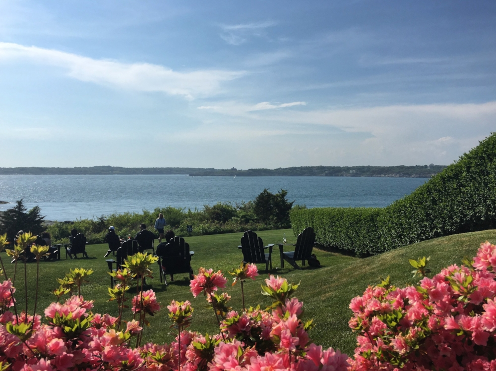 Our view from outdoor sitting at Safari Restaurant in Newport, RI