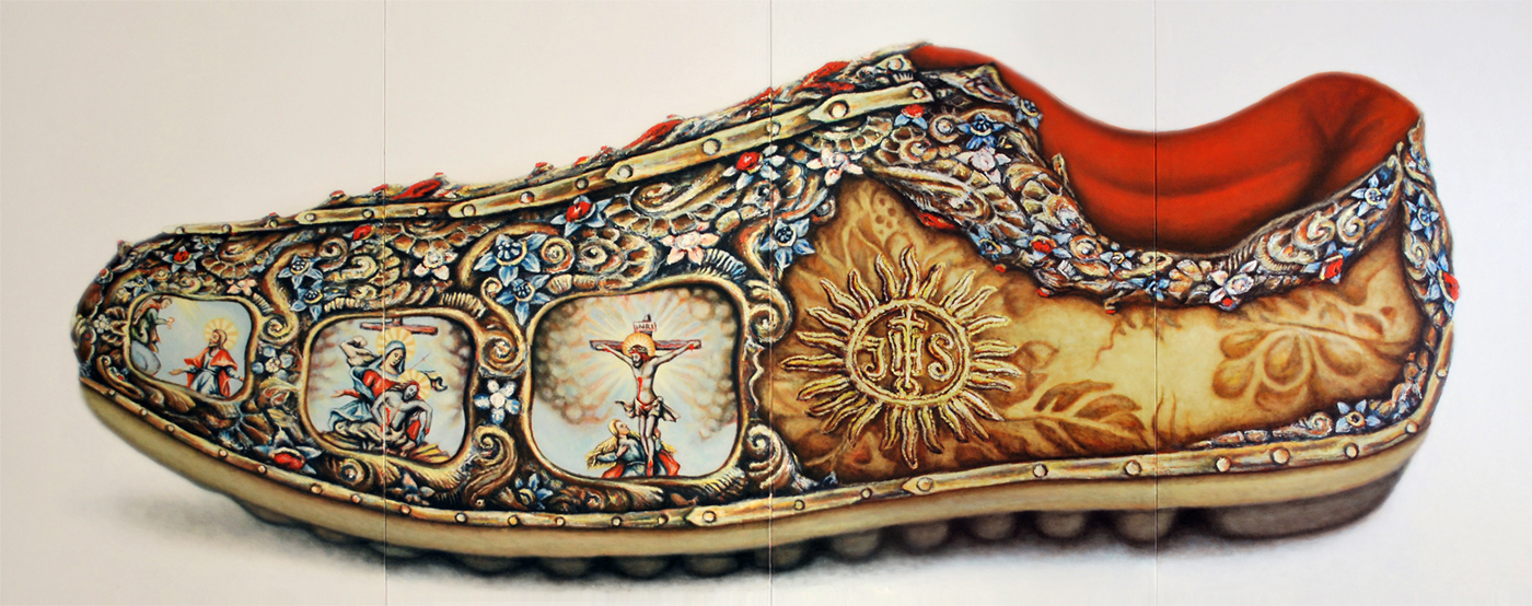 Shoe, IHS series, 2012, Oil on Canvas, 66 x 165 in  (167 x 420 cm)
