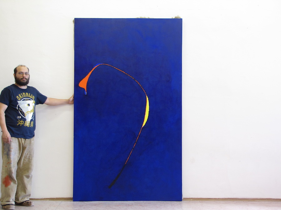 Artist with his work; Untitled, 2014, Oil on Canvas, 93 x 54 inch, (237 x 137 cm)
