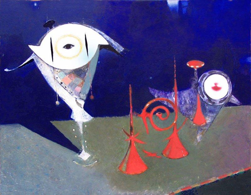 "Performance Dedicated to Schoenberg, 2013, Oil on Canvas, 34""x 43"", (85 х 110 cm)"