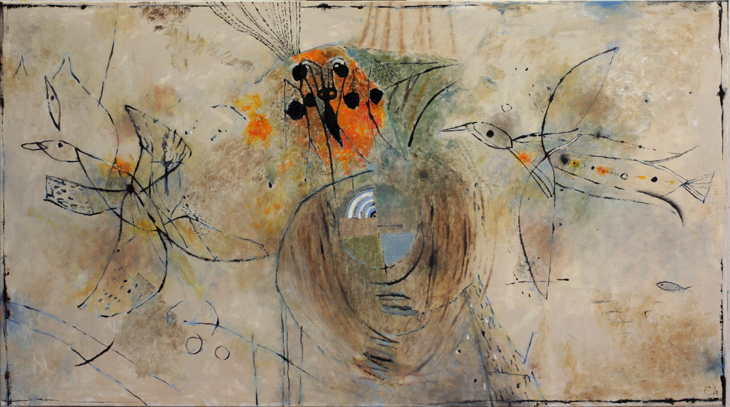 Creating flight, 2015, Oil on Canvas, 30 x 53 in (75 х 135 cm)