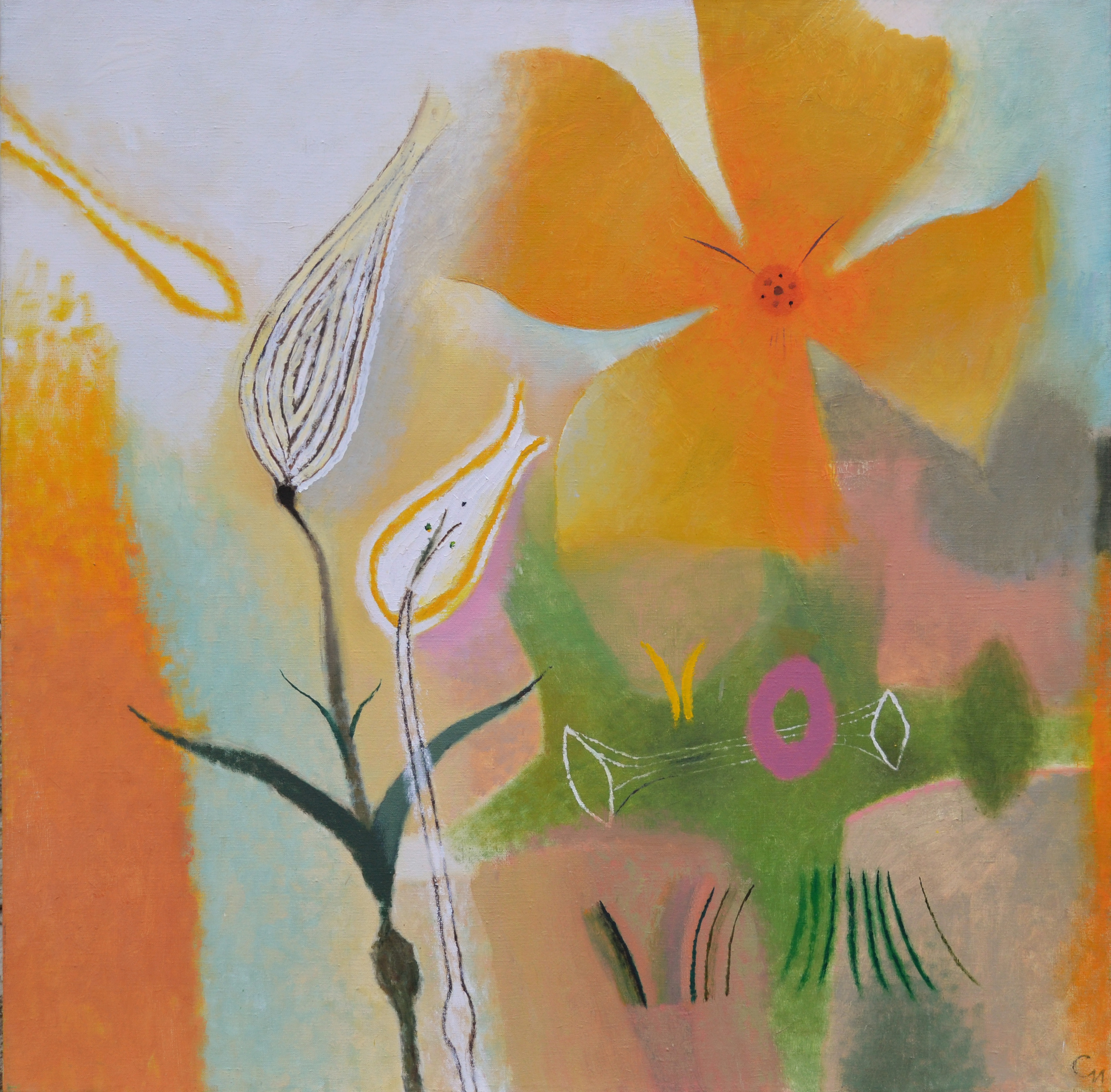 "Flowers, 2014, Oil on Canvas, 36"" x 36"" (90х90 cm)"