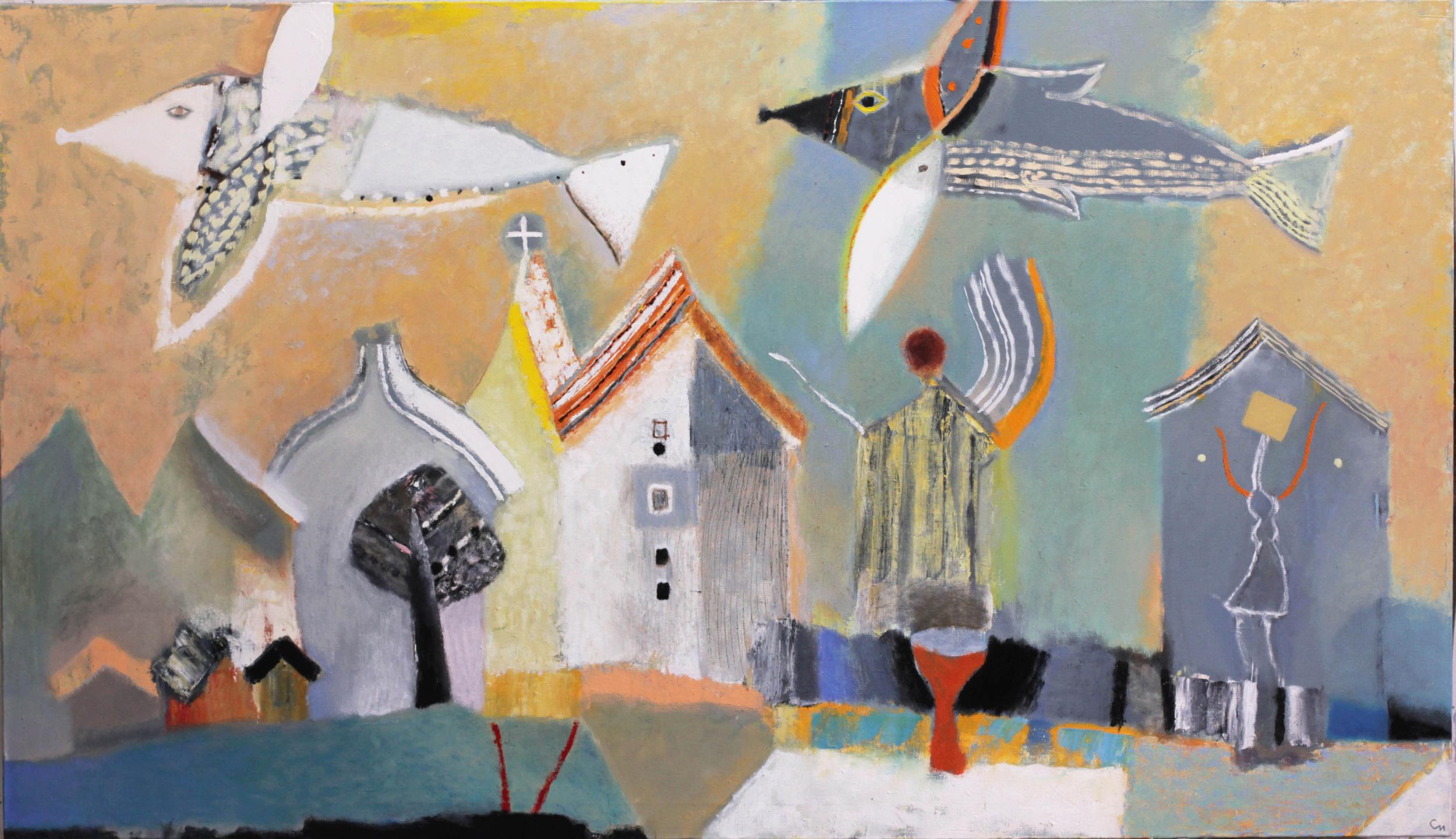 Flying over city X, 2014, Oil on Canvas, 65 x 37 in, (165 х 95 cm)
