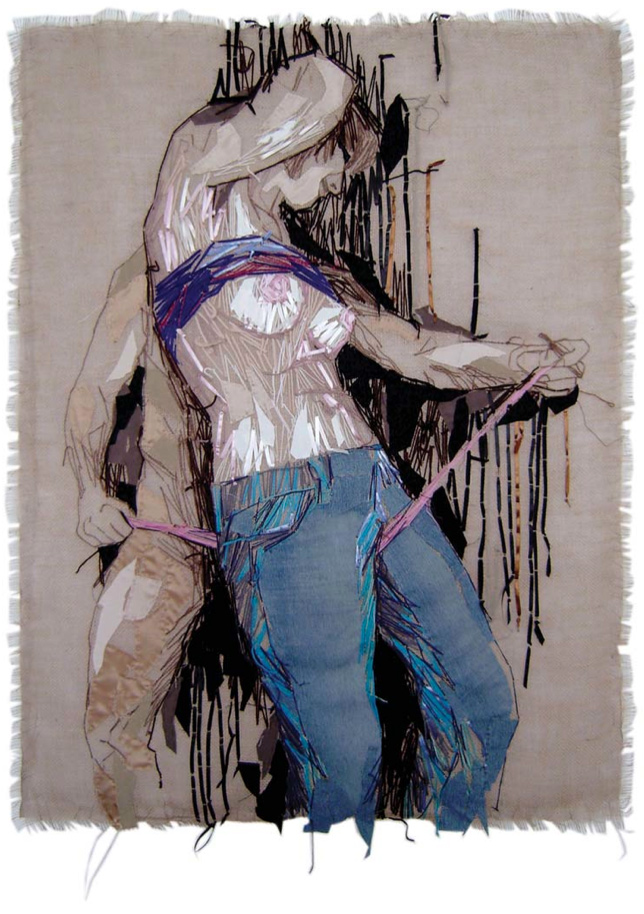 Give it to me, 2009, Hand Embroidery on Textile, 55 x 47 inch (140 x 110 cm)