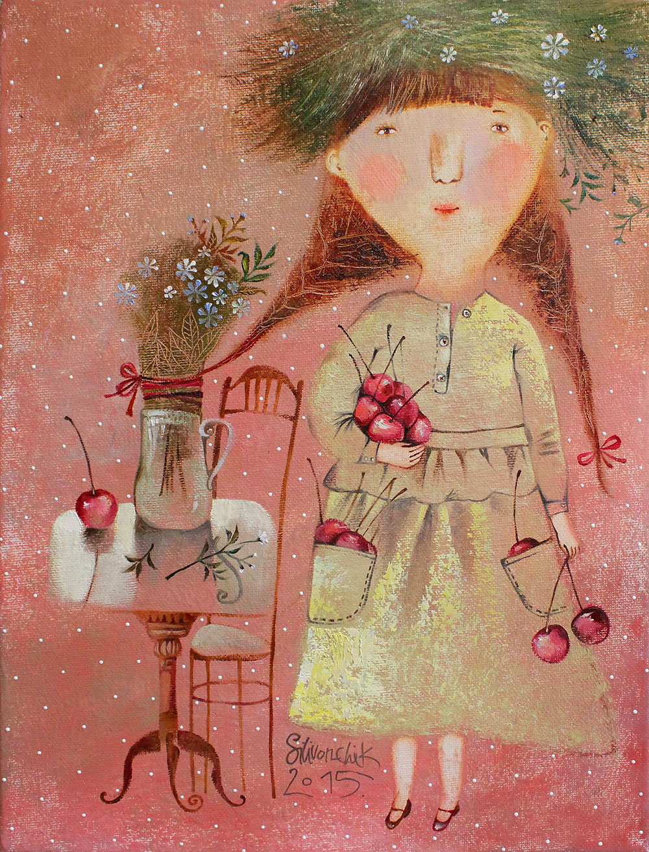 Cherries, 2015, Oil on Canvas, 16 x 12 in (40 x 30 cm)