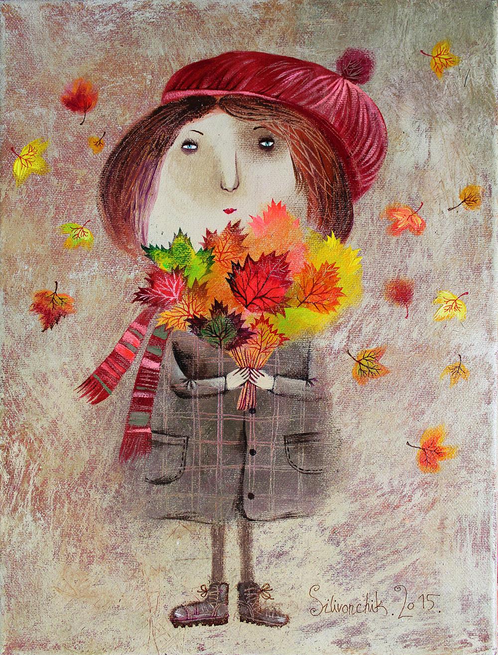 Autumn Bouquet, Acrylic on Canvas, 16 x 12 in (40 x 30 cm)