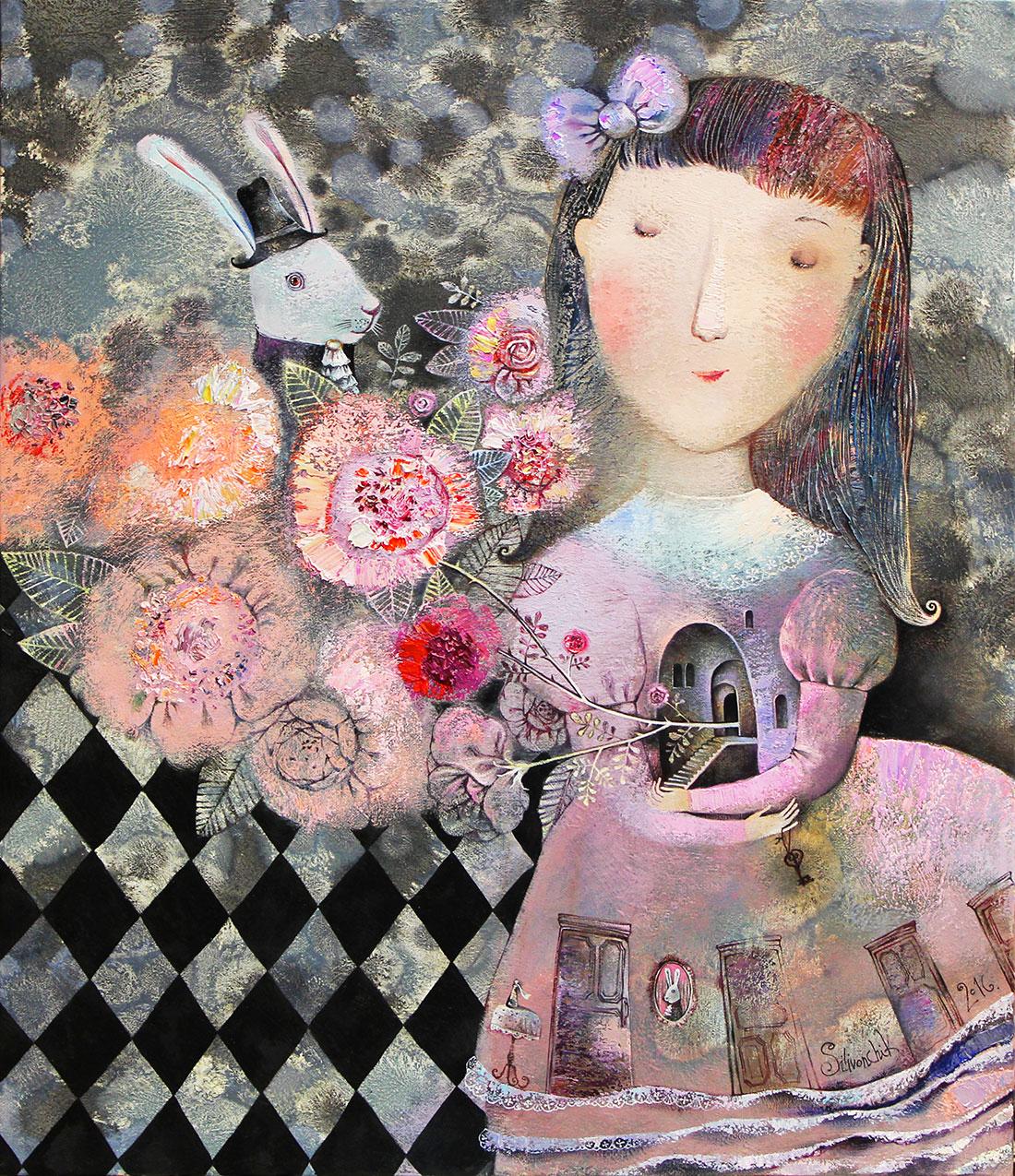 Wonderful Garden (Alice in Wonderland), 2016, Oil on Canvas, 28 x 24 in (70 x 60 cm)